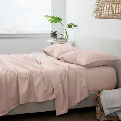 Premium 4-Piece Blush Ultra Soft Flannel King Sheet Set