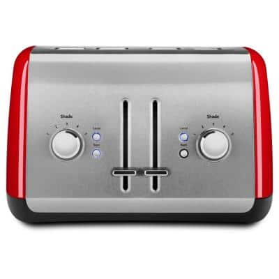 Empire 4-Slice Red Wide Slot Toaster with Crumb Tray