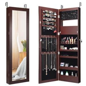 14.5 in. L x 3.3 in. W x 53.5 in. H Brown MDF Lockable Wall Door Mounted Mirror Jewelry Cabinet