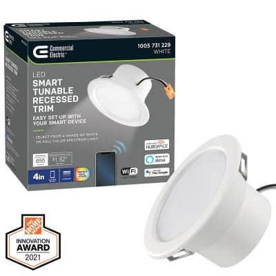 4 in. T20 Smart Color Selectable CCT Integrated LED Recessed Light Trim Works with HUBSPACE App Google Amazon