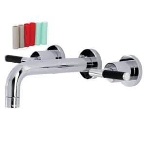 Kaiser 2-Handle Wall Mount Bathroom Faucet in Polished Chrome