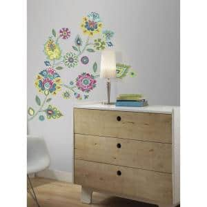 5 in. x 19 in. Boho Floral Peel and Stick Giant Wall Decals