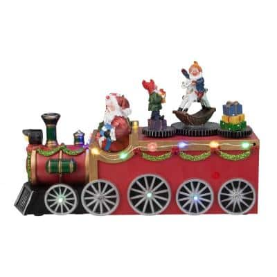 6 in. H x 10.25 in. L LED Lighted Musical Christmas Train with Santa and Rotating Elves