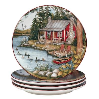 Lake Retreat Multicolored Dinner Plate (Set of 4)