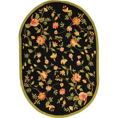 Chelsea Black 4 ft. 6 in. x 6 ft. 6 in. Oval Area Rug
