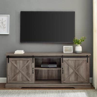 70 in. Grey Wash Wood and Metal TV Stand Fits TVs up to 80 in. with Sliding X Barn Doors