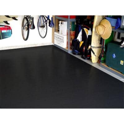 7.5 ft. x 14 ft. Black Textured PVC Small Car Mat