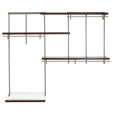 Shelftrack 60 in. W - 96 in. W Nickel Wire Closet System with Wood Trim