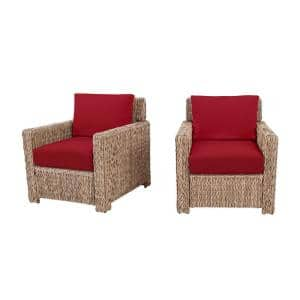 Laguna Point Natural Tan Wicker Outdoor Patio Stationary Lounge Chair with CushionGuard Chili Red Cushions (2-Pack)