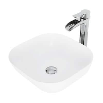 Matte Stone Camellia Composite Square Vessel Bathroom Sink in White with Niko Faucet and Pop-Up Drain in Chrome