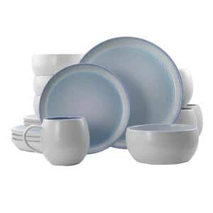 Mocha 16-Piece Blue Stoneware Dinnerware Set (Service for 4)