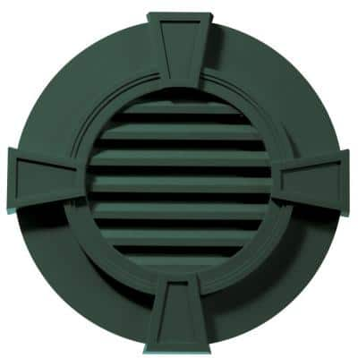 30 in. x 30 in. Round Green Plastic Built-in Screen Gable Louver Vent