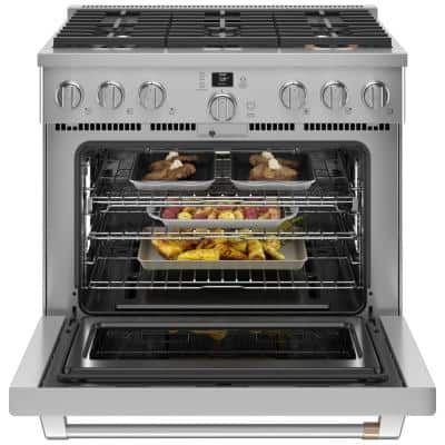 36 in. 6.2 cu. ft. Smart Gas Range with Steam Cleaning Convection Oven in Stainless Steel