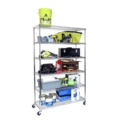 6-Tier Rolling Stainless Steel Wire Shelving Unit (48 in. W x 72 in. H x 18 in. D)
