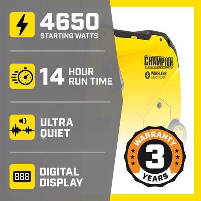 4650-Watt/3650-Watt Remote Start Gasoline RV Ready Inverter Gas Powered Generator with Quiet Technology
