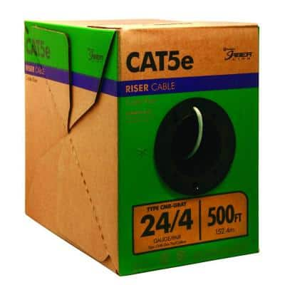 500 ft. Gray 24/4 Solid CU CAT5e CMR (Riser) Data Cable