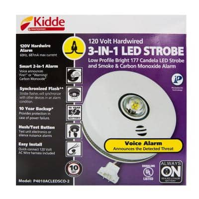 10 Year Worry-Free Hardwired Combination Smoke and Carbon Monoxide Detector with LED Strobe Light and Voice Alarm