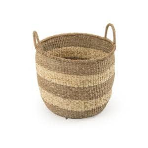 Rounded Hand Woven Seagrass Striped Large Basket with Handles