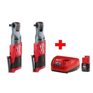 M12 FUEL 12-Volt Lithium-Ion Brushless Cordless 3/8 in. & 1/2 in. Ratchet Combo Kit with (1) 2.0Ah Battery & Charger
