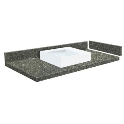 54.5 in. W x 22.25 in. D Quartz Vessel Vanity Top in Greystone with Single Hole White Basin