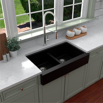 Retrofit Farmhouse Apron Front Quartz Composite 34 in. Double Bowl Kitchen Sink in Black