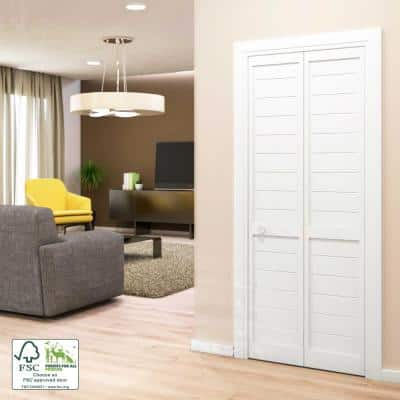 24 in. x 80 in. x 1 in. White Finished Pine Wood Shaker Bi-Fold Louver with Hardware Included