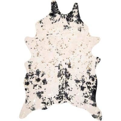 Iraida Faux Cowhide Off-White/Black 4 ft. x 5 ft. Shaped Accent Rug