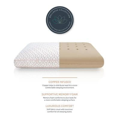 Wellness Collection Medium Support Copper Infused Memory Foam Oversized Pillow