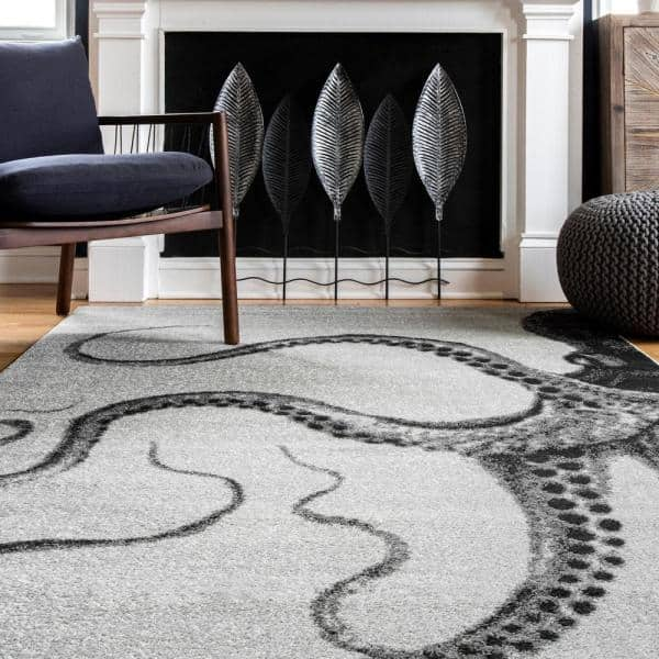 Nuloom Adrienne Octopus Gray 5 Ft X 8 Ft Area Rug Erlr05a 508 The Home Depot