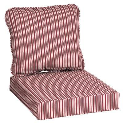 24 in x 22 in Deep Seating Outdoor Lounge Chair Cushion in Red Rio Stripe