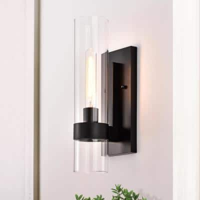 4.75 in. Black Wall Sconce with Clear Glass Tube