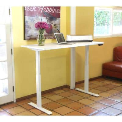 60 in. Electric White Adjustable Height Standing Desk with Wireless Charging Pad