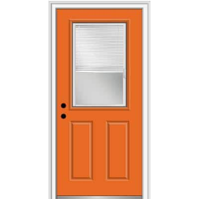 32 in. x 80 in. Internal Blinds Right-Hand Inswing Clear 1/2 Lite Painted Fiberglass Prehung Front Door 4-9/16 in. Frame
