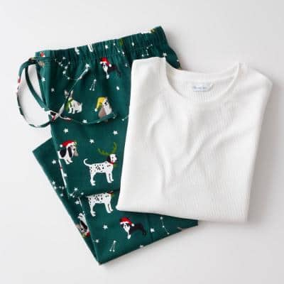 Family Flannel Company Cotton Men's Large Pajama Set in Holiday Dog