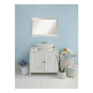 Amanti Art Country 41 In W X 29 In H Framed Rectangular Beveled Edge Bathroom Vanity Mirror In Rustic Whitewash Cream Dsw3941631 The Home Depot