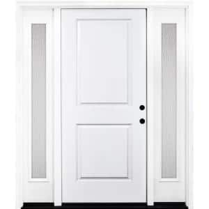 68 in. x 80 in. Classic 2-Panel LHIS Primed White Steel Prehung Front Door with Double 14 in. Rain Glass Sidelites