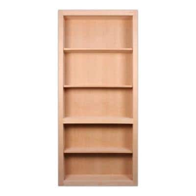 32 in. x 80 in. Flush Mount Assembled Cherry Unfinished Wood 4-Shelf Interior Bookcase Door