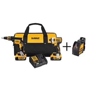 20-Volt MAX XR Cordless Drywall Screw Gun/Impact Driver Kit (2-Tool) with (2) 20-Volt 4.0Ah Batteries & Laser level