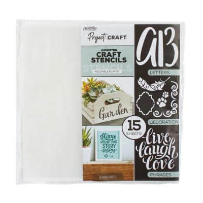 Project Craft Letters, Words and Quotes Reusable Plastic Stencils for Decor, Painting and Crafts, 12 in. (15 Sheets)