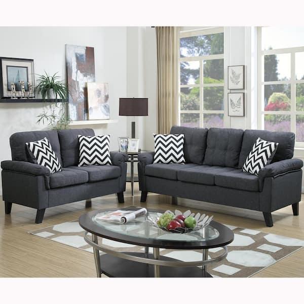 Venetian Worldwide Liguria 2 Piece Blue Gray Sofa Set Vene F6905 The Home Depot