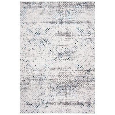 Amalfi Cream/Navy 5 ft. x 8 ft. Abstract Diamond Area Rug