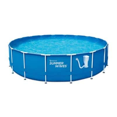 18 ft. Round 48 in. D Metal Frame Pool Set with Filter Pump