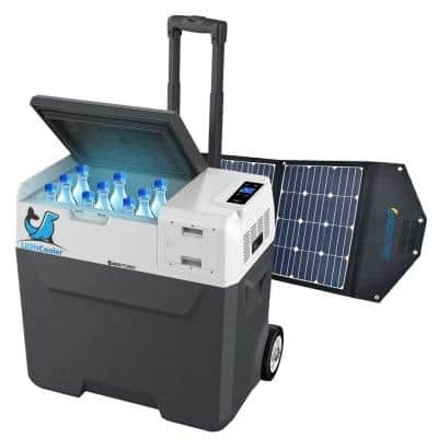 52 Qt Battery Powered Portable Chest Fridge Freezer w/10+ Hour Run Time, Recharge Using Solar/DC/AC (with Solar Panel)