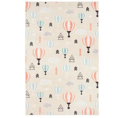 Balloon Ride Red 5 ft. x 8 ft. Contemporary Area Rug