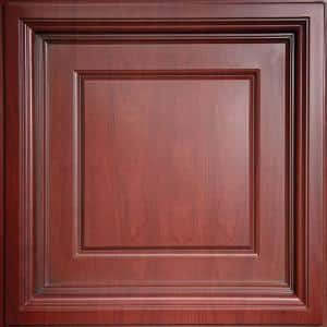 Madison Faux Wood-Cherry 2 ft. x 2 ft. Lay-in Coffered Ceiling Panel (Case of 6)