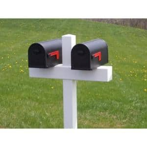 54 in. x 31 in. x 5 in. Vinyl Double Mailbox Post, White