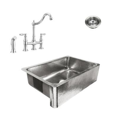 Percy All-in-One Farmhouse Polished Stainless Steel 32 in. Single Bowl Kitchen Sink with Pfister Bridge Faucet and Drain