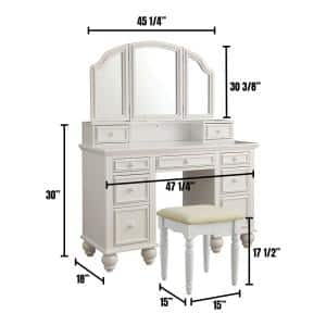 Athy White Transitional Style Vanity with Stool