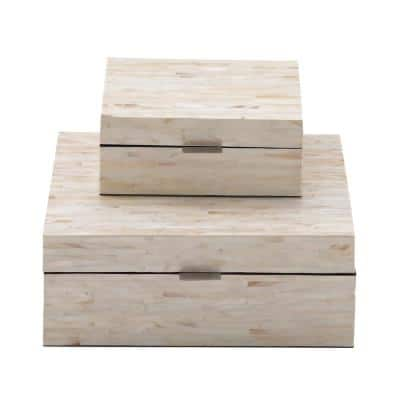 MDF Multiple Decorative Boxes with Off-White and Tan Rectangular Mother of Pearl Tile Inlay (Set of 2)