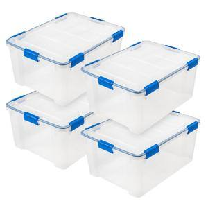 WEATHERTIGHT 60 Qt. Multi-Purpose Storage Box in Clear with Blue Buckles (4-Pack)